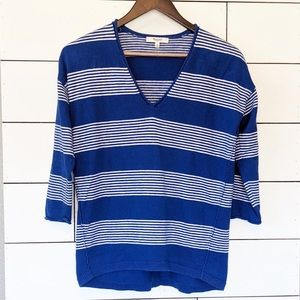 Madewell Blue and White Stripped V-Neck Sweater XS